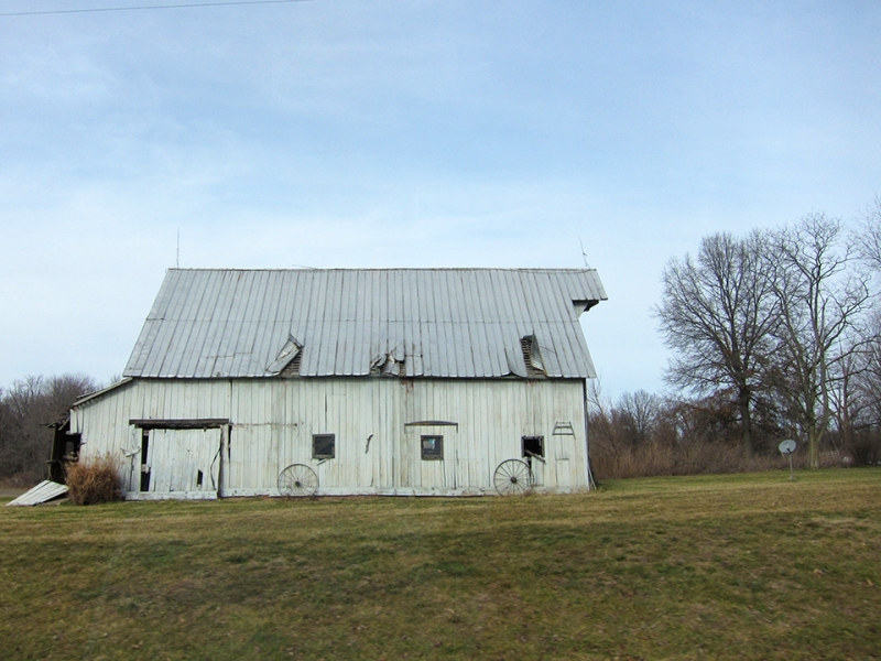 white barn with wheels